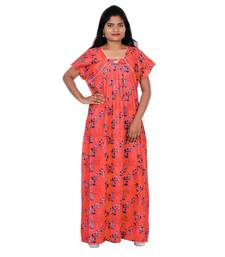 Orange and Grey colour Leaf Design Printed Square Neck Cotton Nighty For Ladies Nightwear