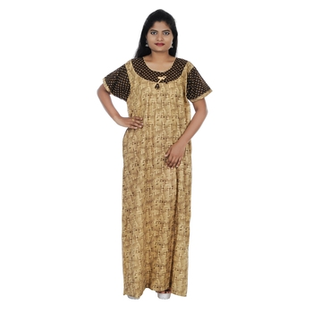 Beige and Brown colour Geometrical Design Printed Round Neck Cotton Nighty For Ladies Nightwear