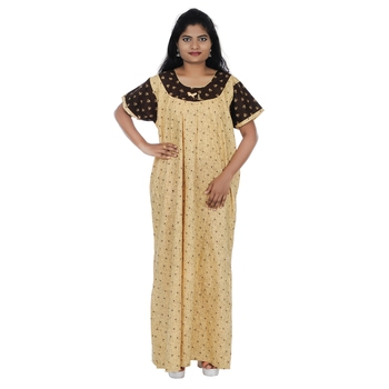 Beige and Brown colour Heart Design Printed Round Neck Cotton Nighty For Ladies Nightwear