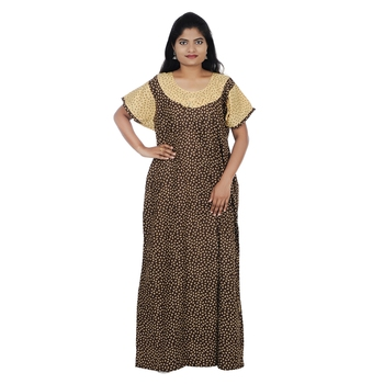 Brown and Beige colour Geometrical Design Printed Round Neck Cotton Nighty For Ladies Nightwear