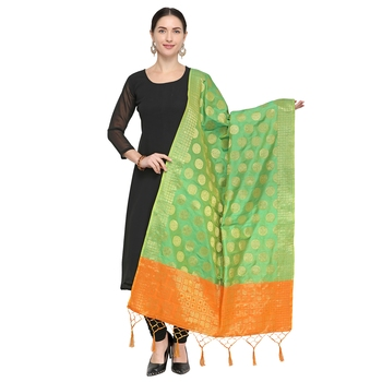 Lime Green Woven Banarasi Silk Dupatta For Women