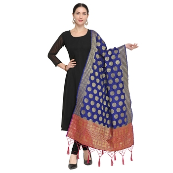 Nvay Blue Woven Banarasi Silk Dupatta For Women