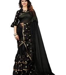 Black Color Silk Ruffle & Foil Printed Saree With Blouse Peice