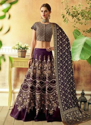Wine embroidered silk semi stitched lehenga