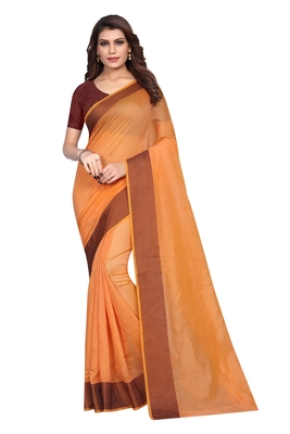 Mustard woven chanderi saree with blouse