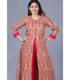 Paisley Printed Jacket Style Flared Kurti with Straight Palazzo