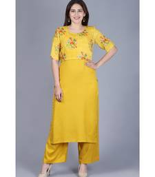 Mustard Birds Cape Straight Kurti with Straight Palazzo