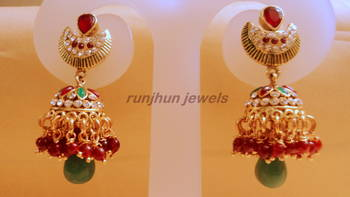 red green elegant pearl jhumkis