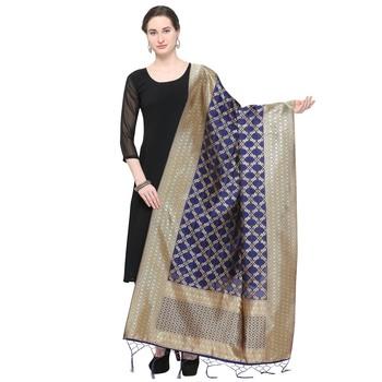 Blue Woven Banarasi Silk Dupatta For Women