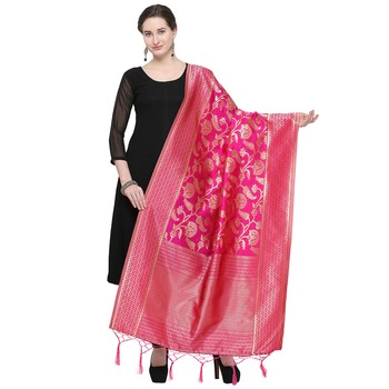 Pink Woven Banarasi Silk Dupatta For Women