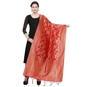 Red Woven Banarasi Silk Dupatta For Women