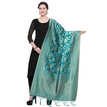 Turquoise Blue Woven Banarasi Silk Dupatta For Women
