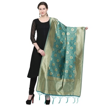 Sea Green Woven Banarasi Silk Dupatta For Women