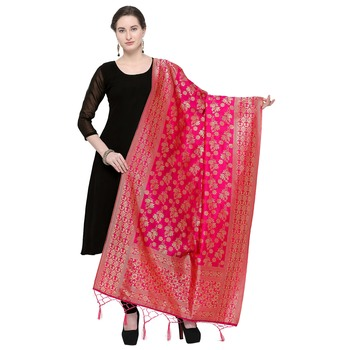 Pink Woven Banarasi Silk Dupatta For Women