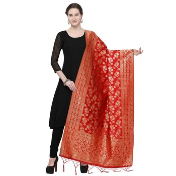 Red Woven Banarasi Silk Dupatta For Women