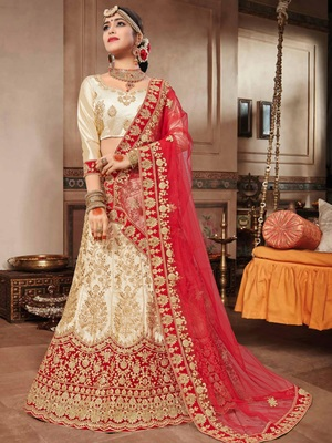 Beige embroidered satin semi stitched lehenga with dupatta