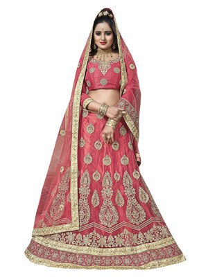 Peach Embroidered Net Semi Stitched Lehenga With Dupatta