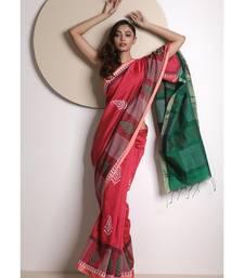 Pink Handloom Cotton Saree With Handblock Prints
