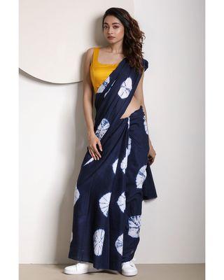 Space Blue Tie-&-Dye Pure Cotton Saree
