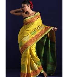 Yellow Blended Cotton Saree With Handblock Prints