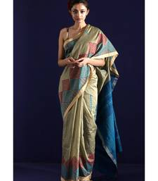 Oyster Blended Cotton Saree With Handblock Print