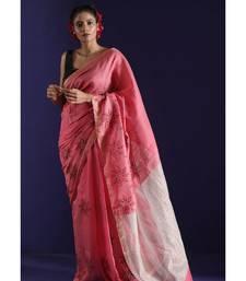 Muted Pink Matka Silk Saree With Handblock Print