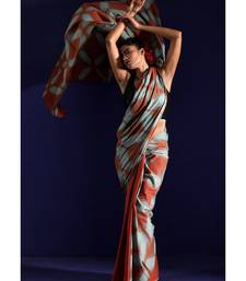 Rust And Grey Cotton Saree With Tie-Dye