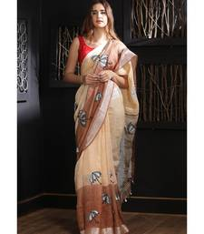 Blush & Brown Linen Saree With Embroidery