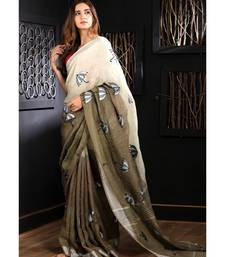 Off-White & Cedar Brown Linen Saree With Embroidery