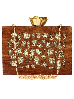 Anekaant Timber Sequins Wooden Party Clutch Bag Brown