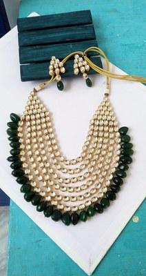 Green Onyx And Kundan Bridal Necklace Set