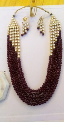 Red Onyx And Gold Tone Kundan Necklace Set