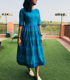 Blue and light blue buffalo gingham cotton dress with back buttons
