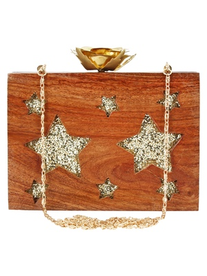 Anekaant Timber Star Sequins Wooden Party Clutch Bag Brown