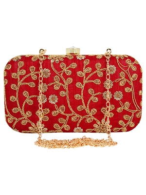 Anekaant Ethnique Embroidered Party Clutch Bag Maroon
