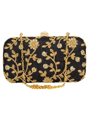 Anekaant Ethnique Embroidered Party Clutch Bag Black