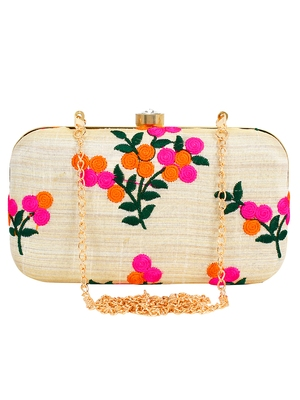 Anekaant Ethnique Embroidered Party Clutch Bag Off white & Multi