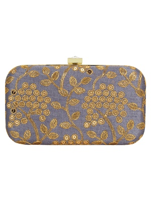 Anekaant Ethnique Embroidered Party Clutch Bag Grey & Gold