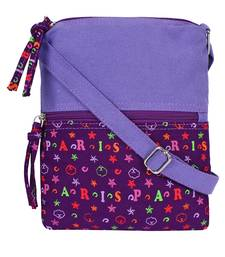 Anekaant La Borsa Alphabet Print Canvas Sling Bag Purple
