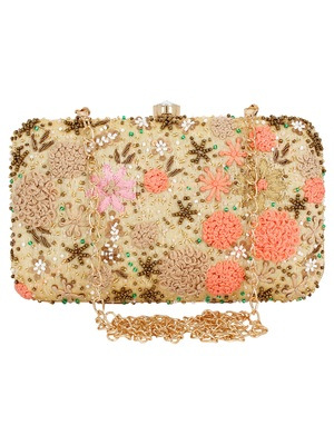 Anekaant Ethnique Embroidered Party Clutch Bag Beige & Multi