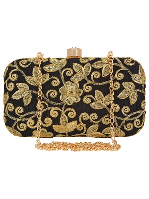 Anekaant Ethnique Embroidered Party Clutch Bag Black & Gold