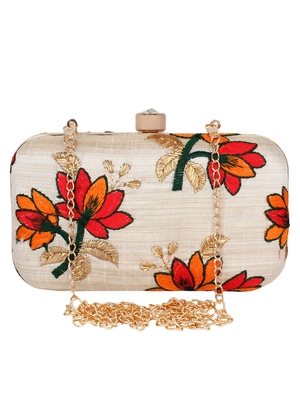 Anekaant Ethnique Embroidered Party Clutch Bag Beige