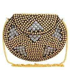Anekaant Jewel Gold & Silver Metal Clutch Bag with Metal Chain