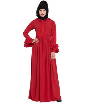 Red Plain Nida Abaya