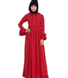 Red plain nida abaya