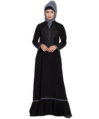 Black Embroidered Nida Abaya