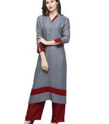Grey plain rayon kurti