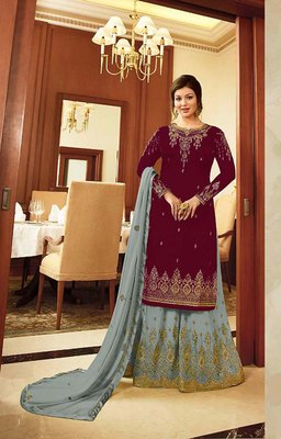 Maroon embroidered georgette palazzo suits