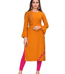 Dark Orange Color Rayon Straight Kurti