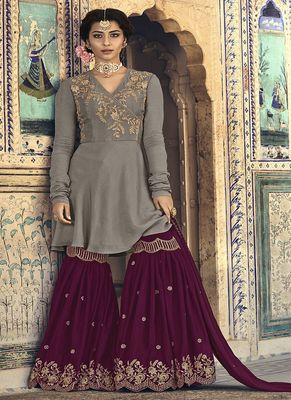 Grey embroidered georgette sharara suits